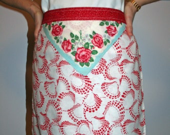 Red Shells Half Apron with Touch of Vintage