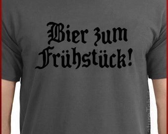 Beer For Breakfast funny German shirt T-shirt Tee tshirt S-2XL more colors BLACK DESIGN