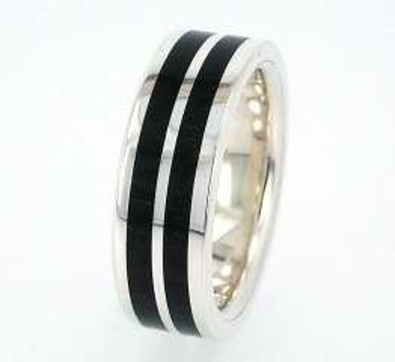 African Blackwood Bands: African Blackwood Wood Ring Sterling Silver Ring By