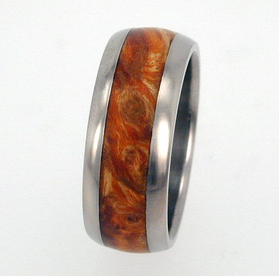 Titanium Ring with Gold (color) Burl Wood inlay Ring -  Wedding Band