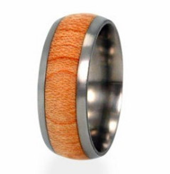 Maple Wood Ring, Titanium Band, Mens Wooden Ring, Ring Armor Included