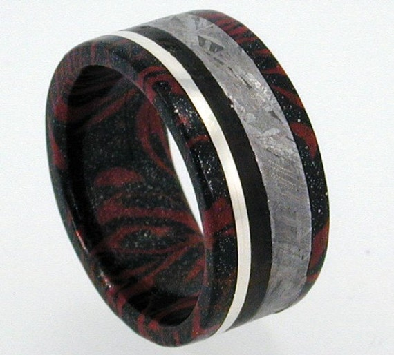 African Blackwood Bands: Black Titanium And Copper Mokume Gane Ring With By