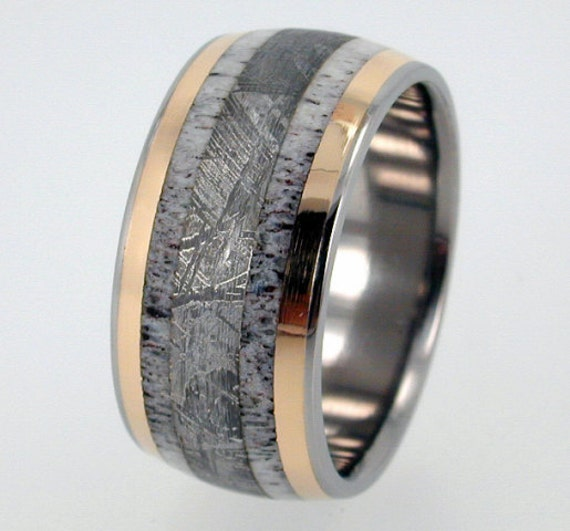 Wedding Band Series: Deer Antler Meteorite And 18K Yellow Gold Inlay By