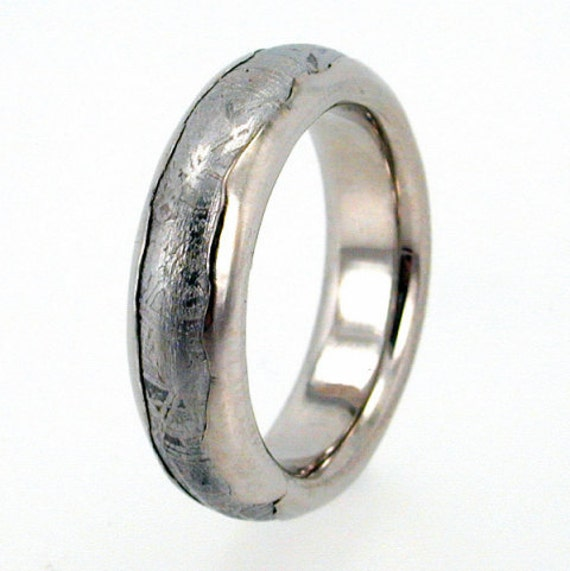 Meteorite Ring inlaid in Wavy Platinum / Solid Meteor Wedding Band inlaid Platinum Ring / (single ring)
