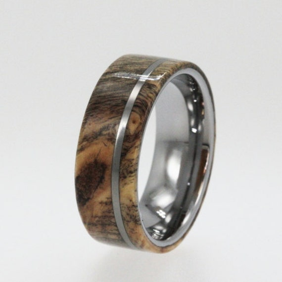 Wood Mens Wedding Bands: Mens Tungsten Wedding Bands Wood Wedding Ring By