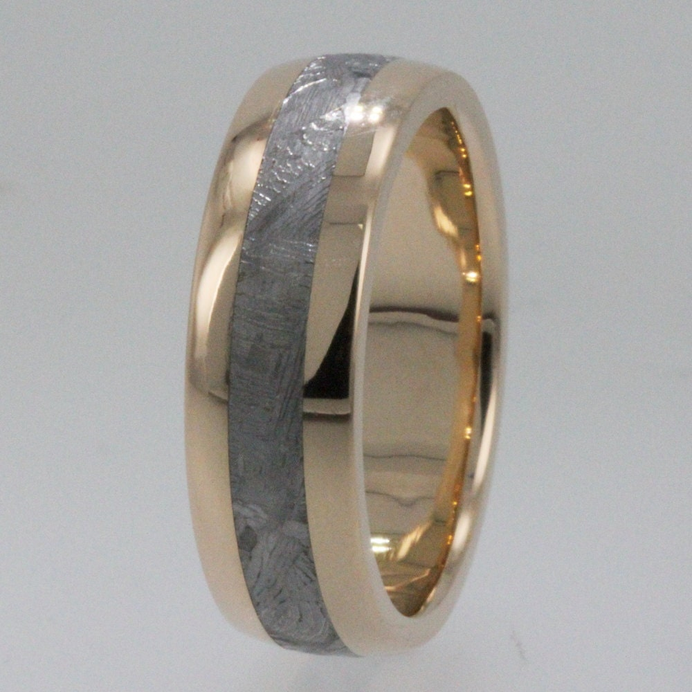 meteorite rings asteroid metallic 14k gold by