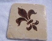 Brown Fleur De Lis Tumbled Marble Tile Drink Coasters (4)
