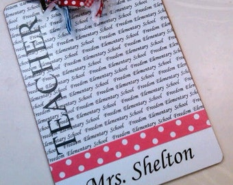 Teacher Clipboard Personalized With School Name and School Colors