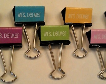 Teacher Binder Clips Personalized