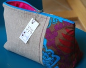 Make-up toiletries canvas and cotton zippered pouch.