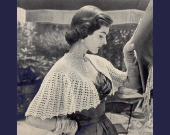 1952 Lacy Capelet or Evening Wrap Crochet Pattern