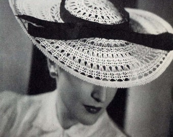 1938 Crochet Lace Picture Hat