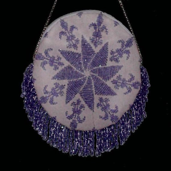 1901 Crocheted Round Fleur de lis Purse by patternsalacarte