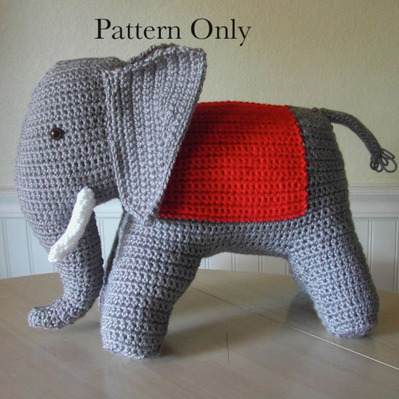 Crochet Patterns Elephant : 1940s Vintage Crochet Elephant Pattern by patternsalacarte on Etsy