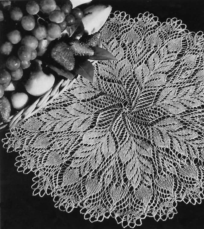 Knitting Patterns Lace Doilies : 1953 Pine Cone Knitted Doily Pattern
