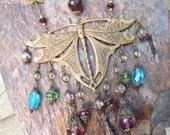 Large Brass Dragonfly Bib Necklace