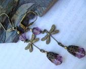 Amethyst Purple Czech Glass and Brass Dragonfly Earrings