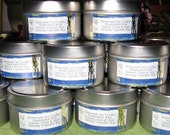 Five 6oz. Soy Candle Tins - Choice of Nag Champa, Lilac, Black Cherry, Patchouli, Honeydew, Cinnamon Buns, Smoke Eliminator and More