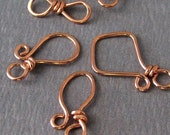 Handmade Copper Clasps, Artisan Jewelry Findings, Trio Hook and Eye Set, 18 gauge - Made in USA