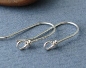 Handmade Earring Components, Wild West Sterling Silver Ear Wire Findings, Front Face Loop - Made in USA