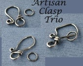 Antiqued Hook Clasps, Sterling Silver Handmade Artisan Trio Set, 18g - Made in USA