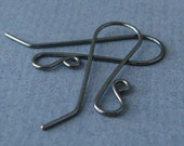 Gunmetal Earwires, Sterling Silver Oxidized Hot French, Handmade Earring Findings, 2 pairs - Made in USA