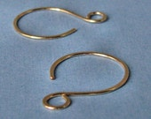 Handmade Hoop Ear Wires, 14k Yellow Gold Filled or Rose Gold Filled Hammered Swingers - Your choice of color