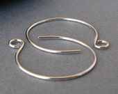 Silver Filled Ear Wires, Large Hoops, Handmade Earwire Supplies, 2 pairs - Made in USA