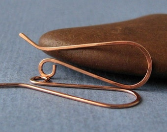 Handmade Copper Earwires, Long French Ear Wire Findings - 2 pairs, Made in USA