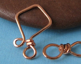 Handmade Copper Clasp, Small 20g Aztec Hook and Eye, Kite Series, CHOICE of Bright, Rustic or Gunmetal - Made in USA