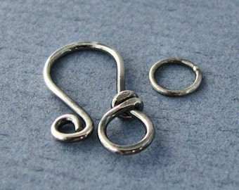Sterling Silver Clasp, Oxidized Antiqued Classic Wrapped Handmade Findings, 18g - Made in USA