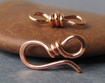 Small Copper Clasp with Eye Link, Handmade Supply Findings, 18g, 2 sets (OWC) - Made in USA