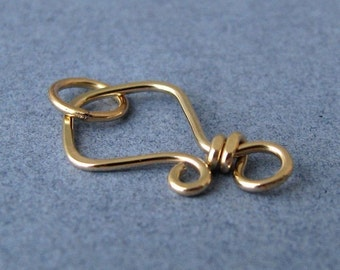 Small Hook Clasp 14k Gold Filled, Handmade Artisan Aztec, 20 gauge - Made in USA