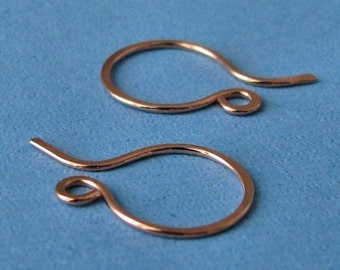 Handmade Copper Ear Wires, Mini French Hammered Hoops, 3 pairs - Made in USA