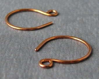 Small Copper Hoop Ear Wires - Handmade Earring Findings - 3 pairs - Made in USA