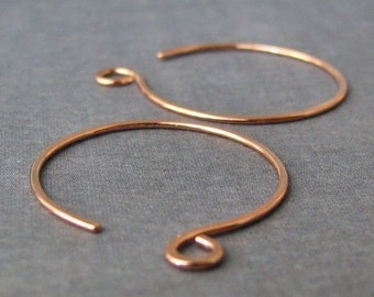 Large Copper Hoops, Handmade Ear Wire Findings, 20 gauge, 3 pairs, Made in USA