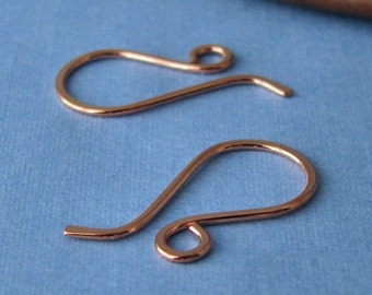 Handmade Copper Earwires, Wee French Ear Wire Findings, 5 pairs, Made in USA