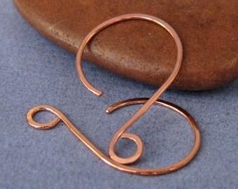 Handmade Copper Hoop Earwires, Hammered Swingers, Artisan Earring Findings, 2 pairs, Made in USA