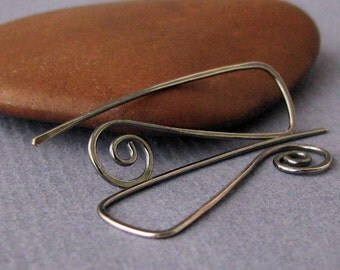 Handmade Oxidized Earrings, Antiqued Long Triangle Swirls, Sterling Silver Earwires - Made in USA