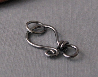 Gunmetal Clasp Sterling Silver, Handmade Oxidized Findings, Classic Wrapped, 18 gauge - Made in USA