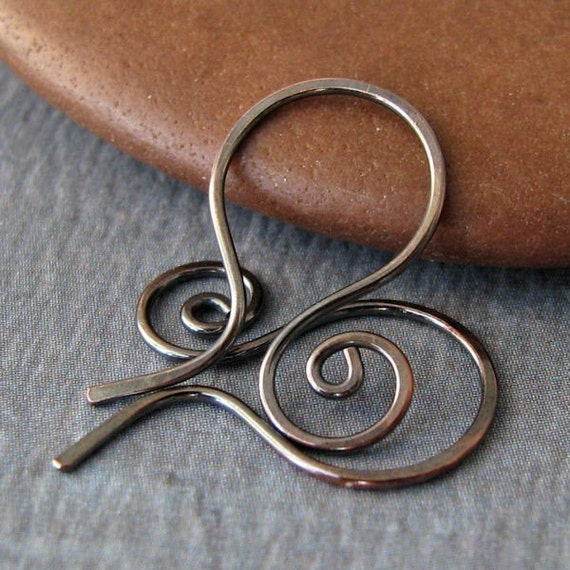 Rustic Copper Ear Wires, Small Swirly Hoops, Handmade Interchangeable Earrings, 3 pairs, Made in USA