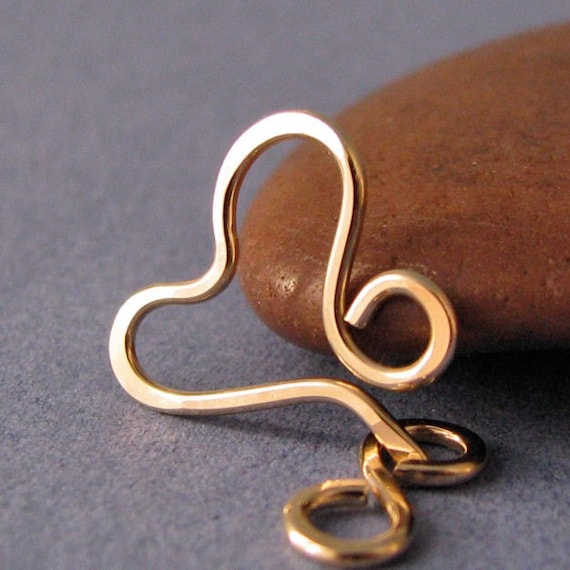 Small 14K Gold Filled Heart Clasp, Handmade Findings, Textured Finish, 18 gauge - Made in USA