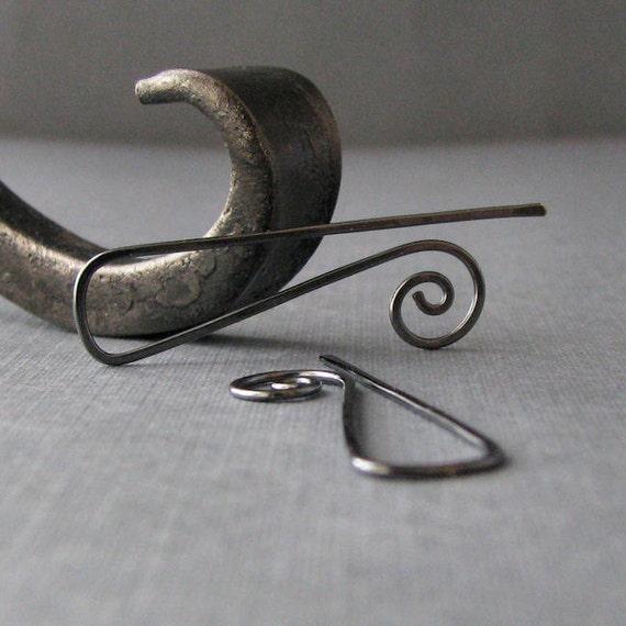 Silver Filled Gunmetal Earrings, Triangle Swirl Ear Wires, Handmade Interchangeable - Made in USA