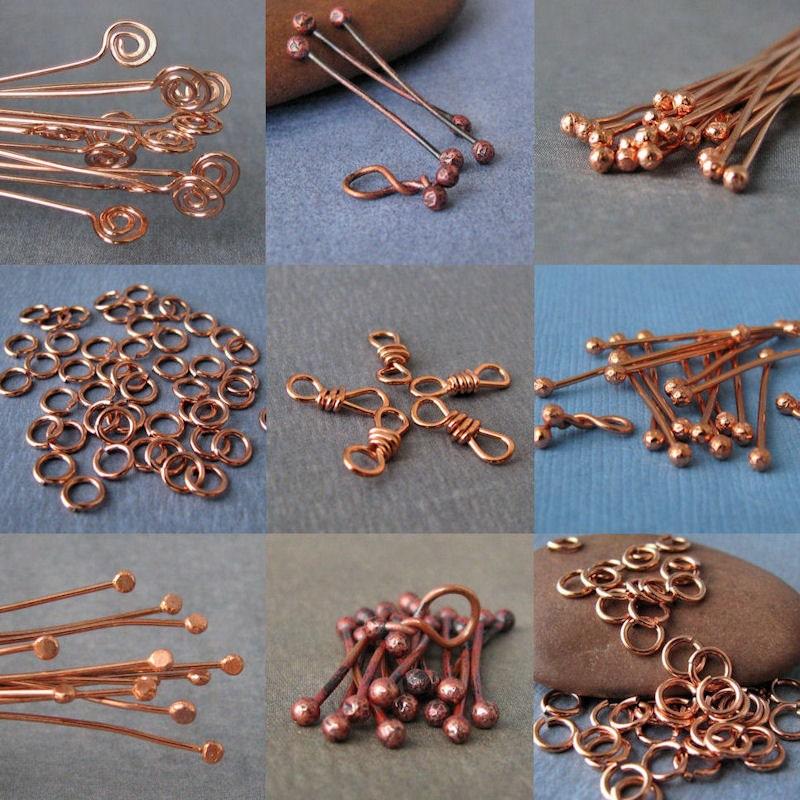 Handmade Copper Supply Findings Jump Rings Headpins Twist