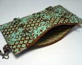 Zipper Pouch Cosmetic Bag Kanzashi FlowerBrown and Teal with Corduroy Dot