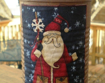 Primitive Santa - Decorative Tin - Rust - Gift Container - for Holidays