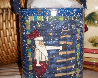 Primitive Santa - Decorative Tin - Blue - Gift Container - for Holidays