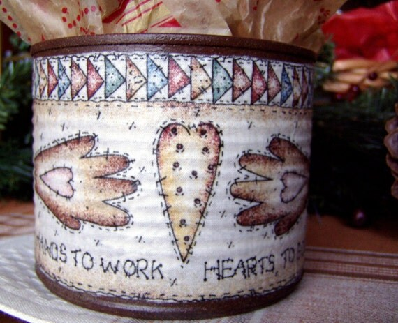 Decorative Tin, Hearts and Hands, Gift Container