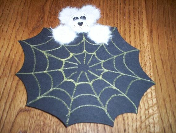 Peek a Boo Tear Bear Black Spider Webs  Die Cuts Halloween Cards