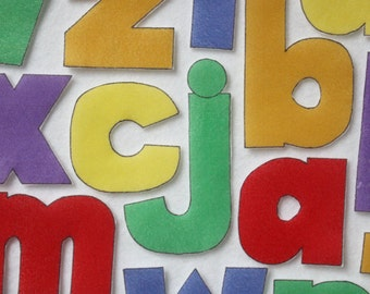 Leaning Solids Lowercase Letters - ePattern for Print and Play Felt Figures